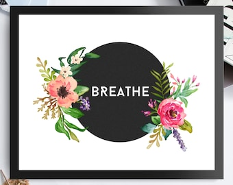 Breathe - Custom Listing Horizontal - Black Background Pastel Flowers 8x10 inch - Poster Print Wall Decor, Aesthetic Floral, Cool - P1024