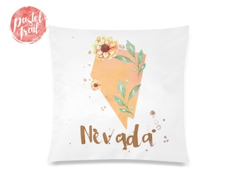 US State Nevada Map Outline Floral Design - Throw Pillow Case Living Room, Pillow Cover Decorative, Pillow Case Floral - TPC1247