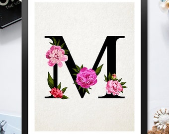 Letter M Pink Red Flowers 8x10 inch - Poster Print Wall Decor, Aesthetic Floral, Cool Art Design - P1047