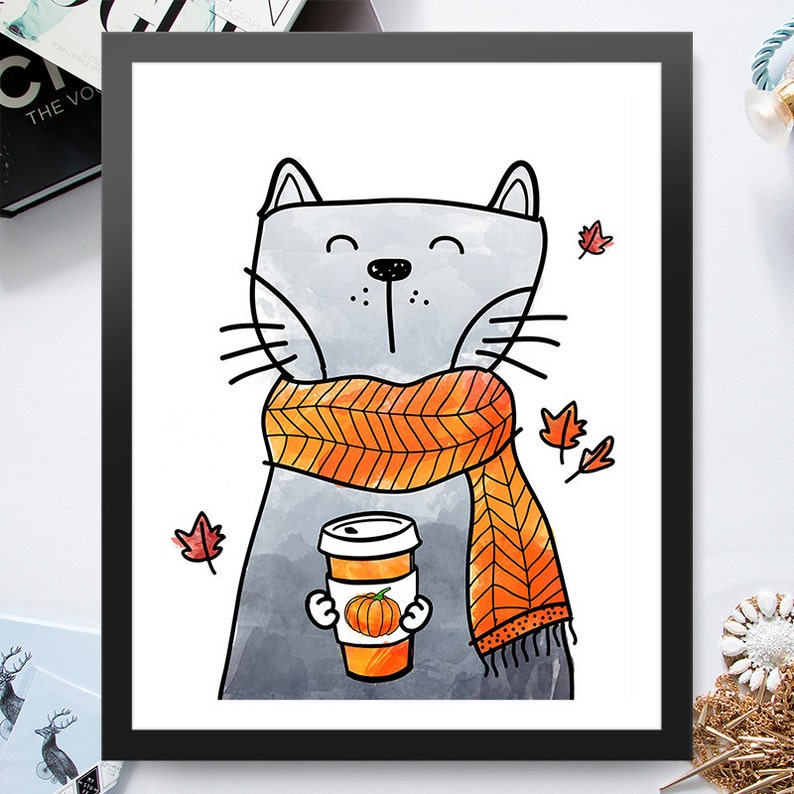 Instant Download Cat Holding Pumpkin Spice Blend 8x10 inch image 0