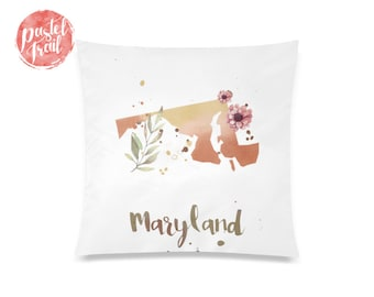 US State Maryland Map Outline Floral Design - Throw Pillow Case, Pillow Cover, Home Decor - TPC1241