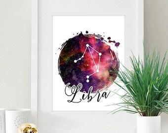 Libra Zodiac Sign Horoscope Constellation Galaxy 8x10 inch - Poster Print Wall Decor, Aesthetic Night Sky, Artsy Quote - P1171