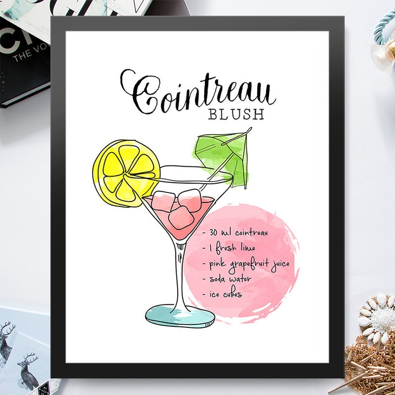 Cointreau Blush Cocktail Illustration 8x10 inch Poster Print  image 0
