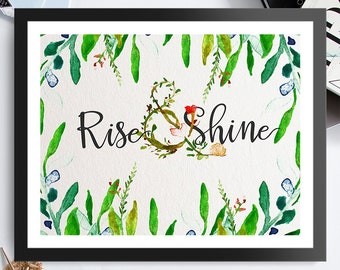 Rise & Shine Green Leaves 8x10 inch - Poster Print Wall Decor, Aesthetic Floral, Cool Art Design - P1097