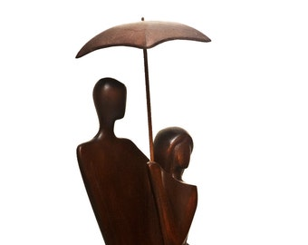 "Wood sculpture ""Under Umbrella"" wood carving - boho art - Valentine's gift"