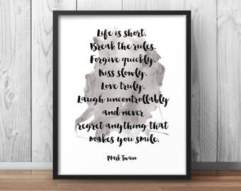Mark Twain Quote Poster Two Most Important Days Etsy