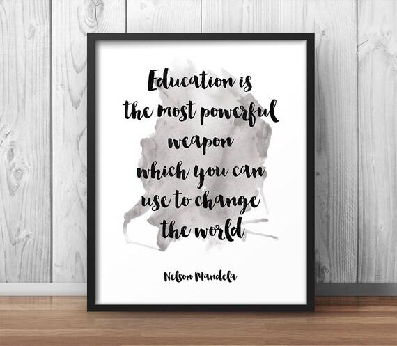 L éducation Affiche école De Citation De Nelson Mandela étude Impression Citations Inspiration Tirage Poster De Motivation Manuscrite Citation Classe