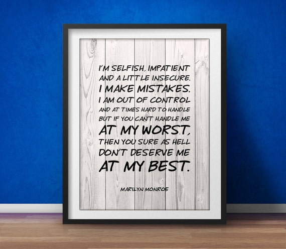Marilyn Monroe Quote If You Cant Handle Me At My Worst Etsy