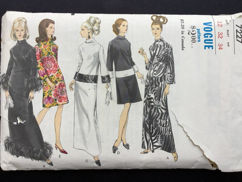 bell sleeves Size 12. Standing neckline Vintage 1960s misses\u2019 one piece A line dress in evening or street length Vogue pattern 7227