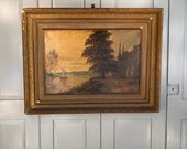 Antique river landscape oil painting of Chiswick Old Mall on the Thames, London signed C Jessett 1896
