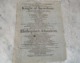 Antique poster flier playbill New Theatre Royal Covent Garden London Gustavus Vasa XYZ dated 1810