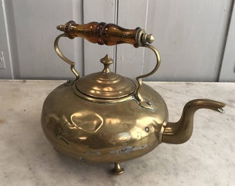 Antique vintage brass kettle with glass handle