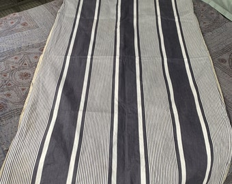 Antique French blue striped ticking long pillow bolster case cover pillowcase