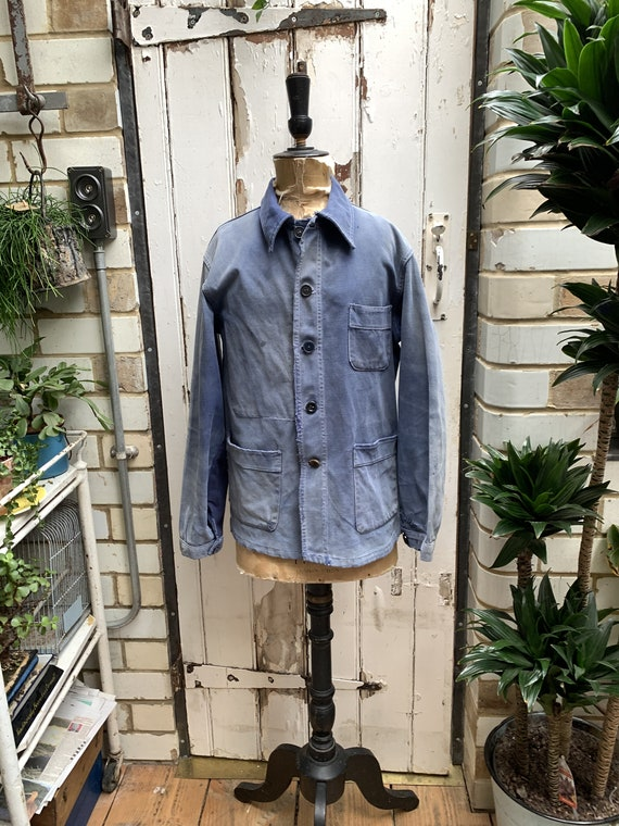 Antique vintage French faded blue cotton workwear