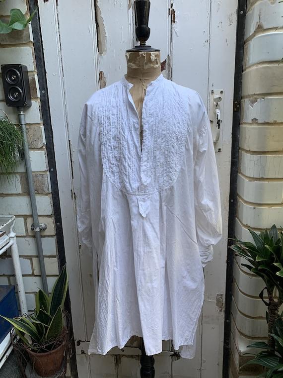 Antique French white cotton dress shirt size M - image 2
