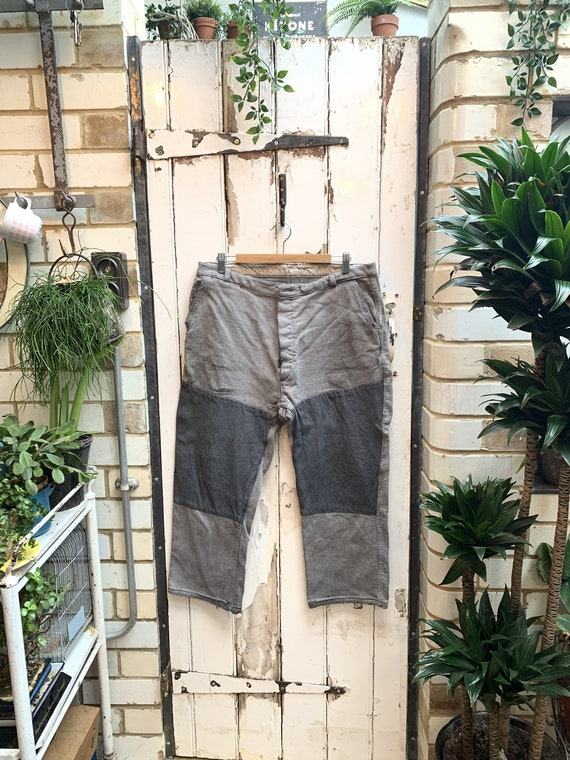Antique French thick grey cotton trousers with pat