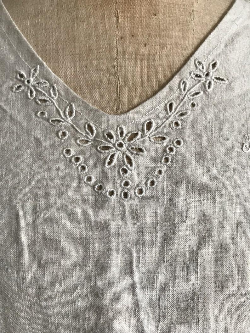 Antique French beige unbleached linen sleeveless nightdress monogram RH size M UK 12