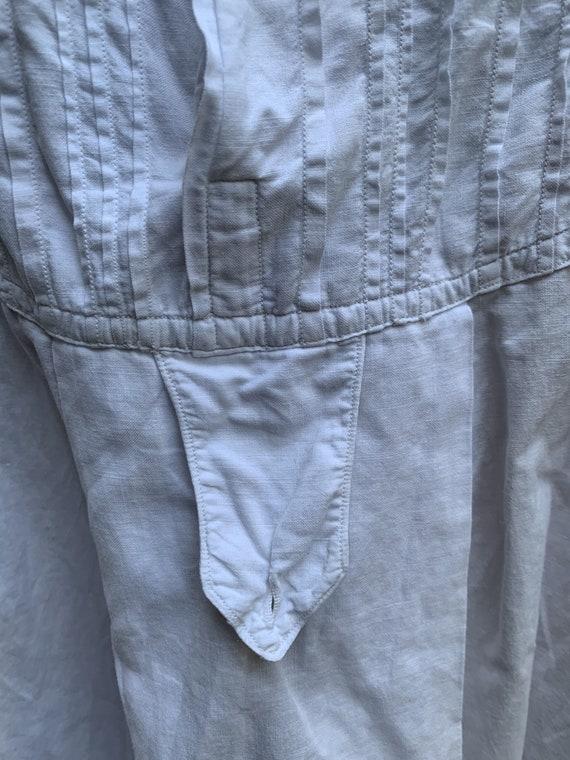 Antique French white cotton dress shirt size M - image 4