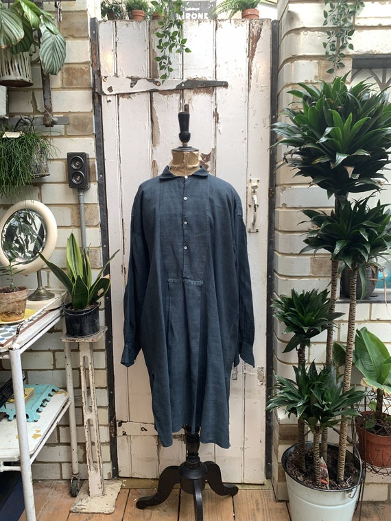 Antique French indigo linen shirt dress chemise sm