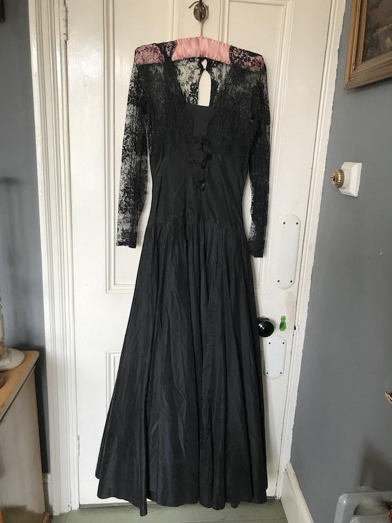 Antique long black satin lacy dress size S UK 10