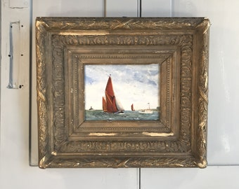 Antique oil seascape painting of sailboat sailing boat