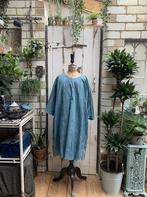 Antique French linen dress nightdress smock dyed i