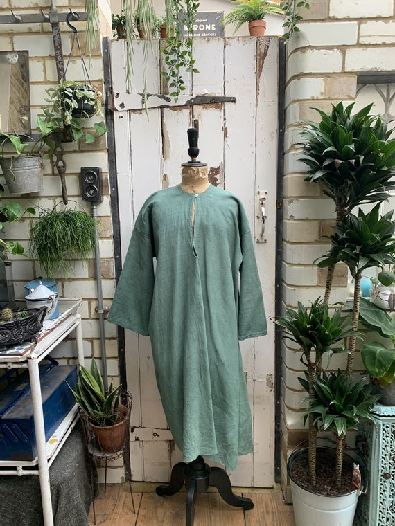 Antique French green linen dress smock kaftan size