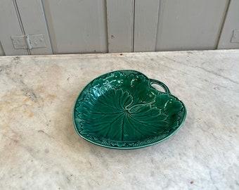 Antique Majolica green vine leaf design plate platter with handle
