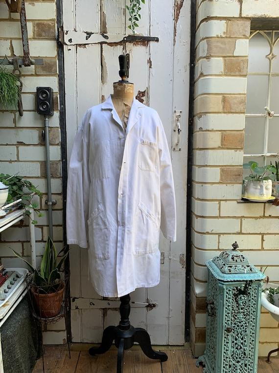 Antique vintage French white cotton workwear chore