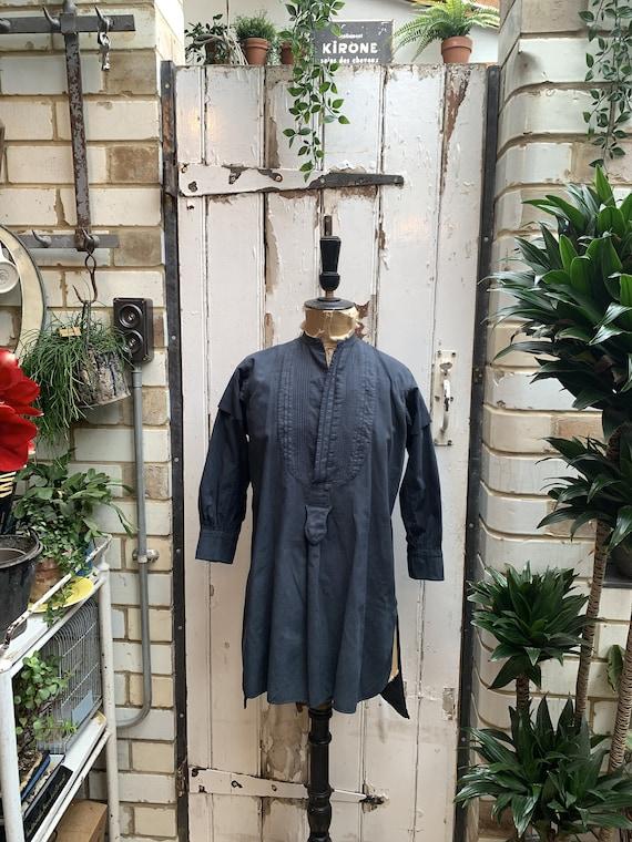 Antique vintage French grey cotton dress shirt che