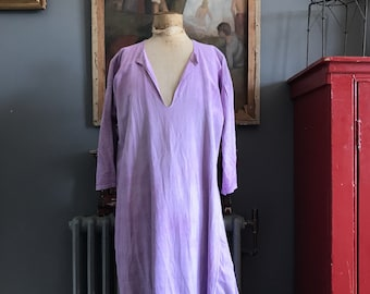 Antique French linen cotton metis smock nightdress dyed Lavender size M