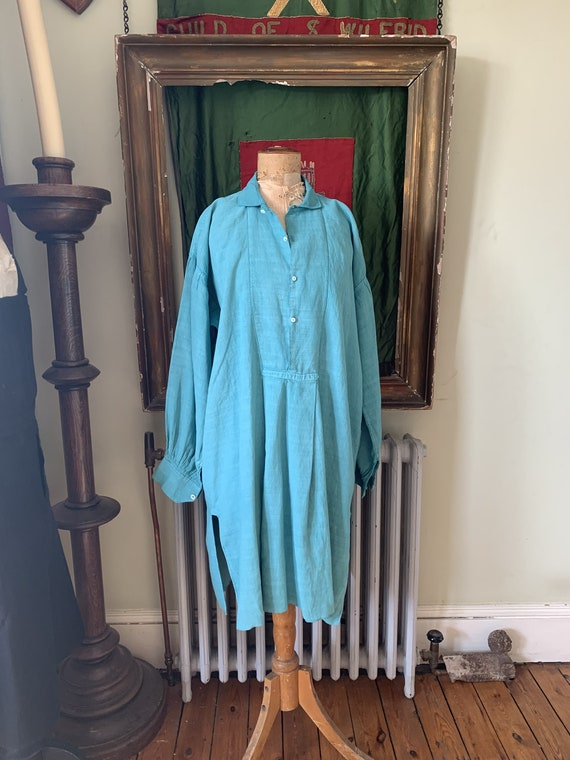 Antique French teal linen dress shirt chemise smoc