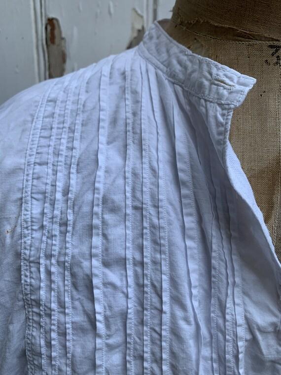 Antique French white cotton dress shirt size M - image 5