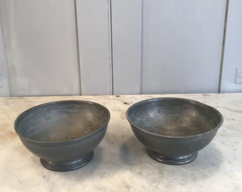 Pair antique English Pewter bowls dishes by James Dixon and Sons