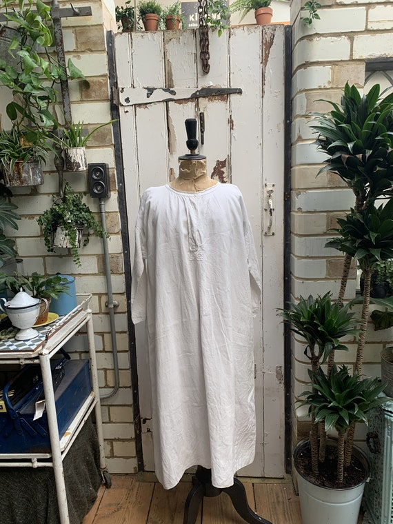 Antique French white linen hemp flax dress nightdr