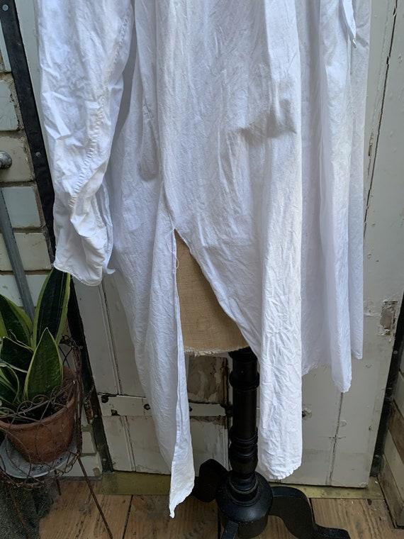 Antique French white cotton dress shirt size M - image 6