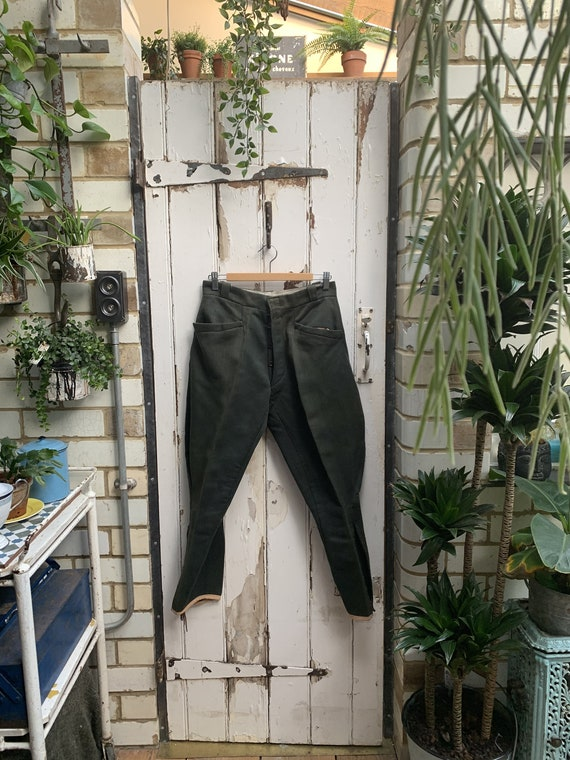 Antique French mens olive green jodhpurs riding br