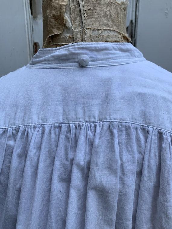 Antique French white cotton dress shirt size M - image 8