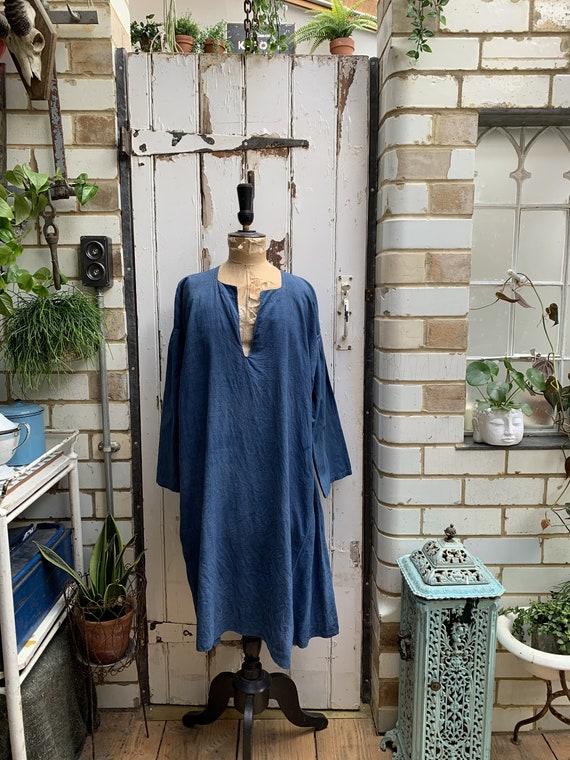 Antique French marine blue linen dress smock robe