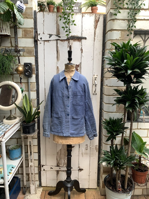 Antique vintage French workwear blue cotton molesk