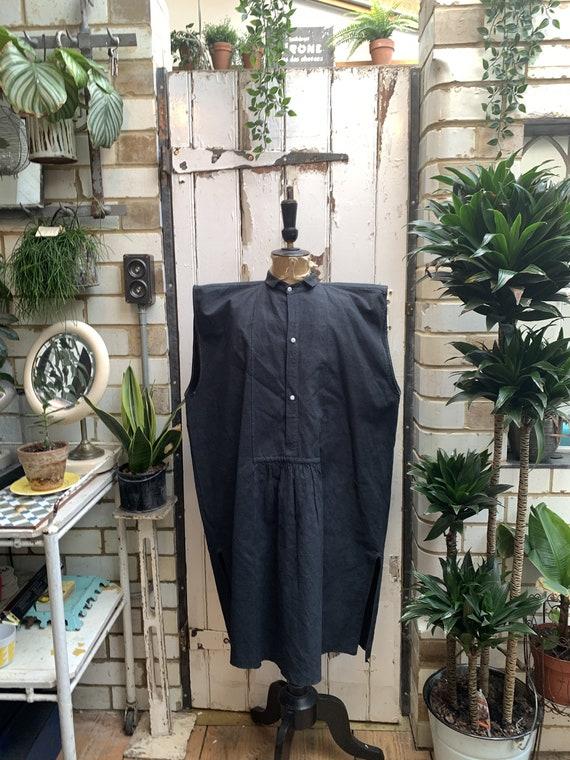 Antique French black linen cotton metis sleeveless