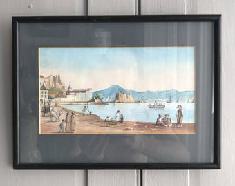 Antique framed watercolour seascape painting of 17th Century harbour scene Mediterranean port