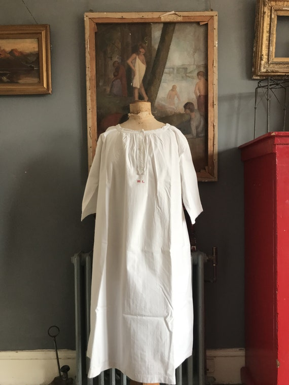 d935ea37bd Antique French cotton nightdress nightgown red monogram initials ML size L