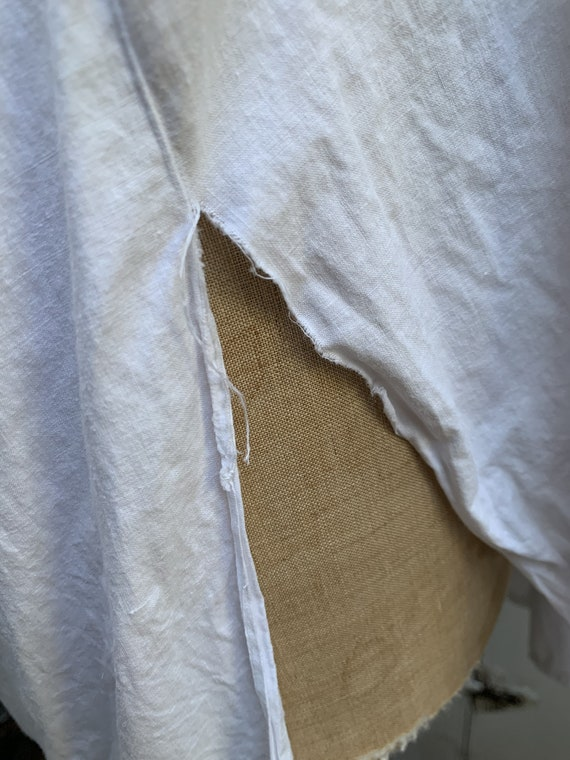 Antique French white cotton dress shirt size M - image 10