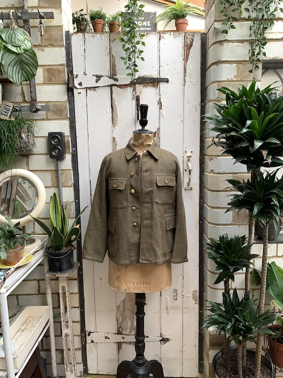 Antique vintage military army khaki wool uniform c