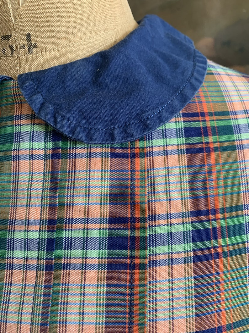 Antique vintage French childs cotton handmade check dress size image 2