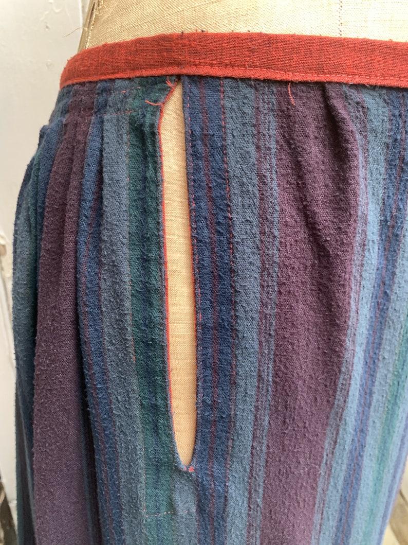 Antique Dutch handmade long brushed cotton gathered skirt size M UK 12