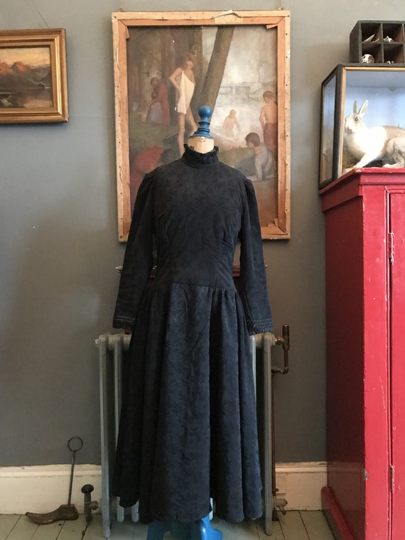 Antique French black handmade Gothic funeral dress