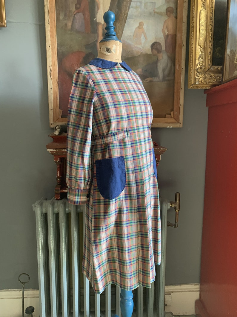 Antique vintage French childs cotton handmade check dress size image 8