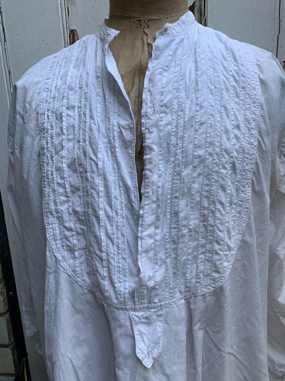 Antique French white cotton dress shirt size M - image 3